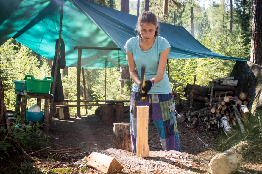 Masha Chopping Wood