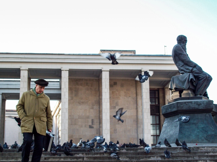 Man, Pigeons, Library, Moscow